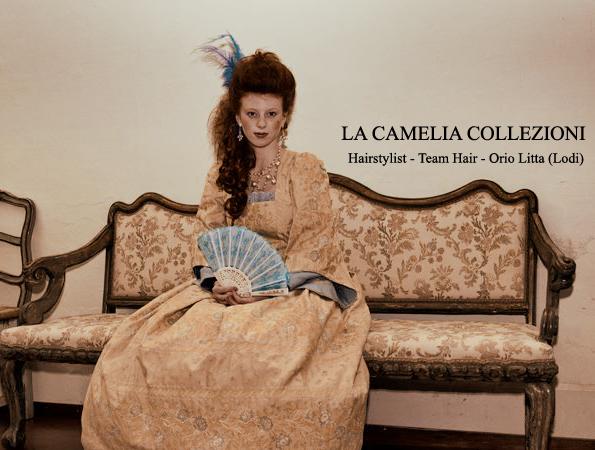 noleggio - vestiti carnevale venezia - color panna e azzurrino - la camelia collezioni
