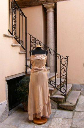 vestito da cerimonia cangiante sul rosa con stola