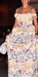 vestito damascato stile settecento smanicato fantasia fiori