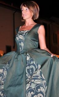 vestito damascato settecento verde scuro smanicato
