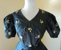 abito da gran gala in taffetas ricami punto pittura fine 1800