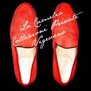 mocassiono uomo - scarpa uomo in coccodrillo colore rosso A. Pfister - la camelia collezioni