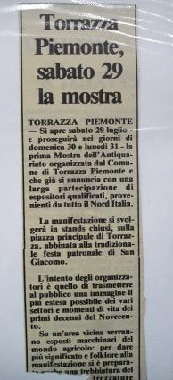 Torrazza Piemonte 1989 - mostra antiquariato 1