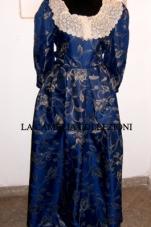 vestiti rinascimentali - vestiti stile 700 - vestiti in tessuto broccato - blu scuro - la camelia collezioni