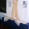 intimo antico e d'epoca - collezione - camicia in seta rosa cipria e ricamo