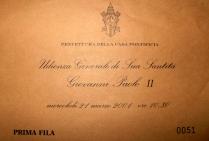 invito Udienza da Papa Giovanni Paolo II – 21 marzo 2001