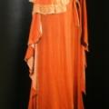 intimo d'epoca - camicia con ricamo arancio e vestaglia - parure