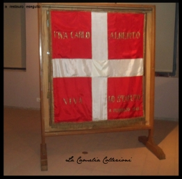 a restauro completato, il gonfalone montato su teca presso la Pinacoteca Civica - Castello di Vigevano