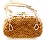 borsa in paglia chiara con tracolla anni 60 - la camelia collezioni
