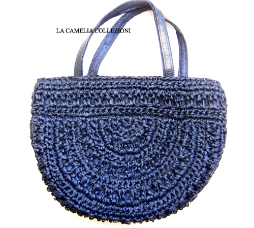 borsa in rafia anni 60 colore blu con manici - la camelia collezioni