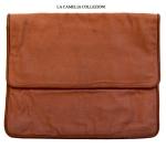 borsa in tela maron con profili più scuri anni 70 - la camelia collezioni