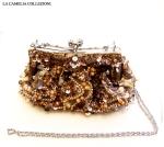 pochette con tracolla argento con paillettes oro rame e argento - la camelia collezioni