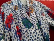 vestiti a pois - vestito a pois blu e motivo a fiori - la camelia collezioni