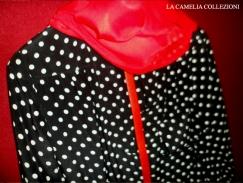 vestiti a pois - vestito in seta nero con pois bianchi taschino e foulard rosso - la camelia collezioni