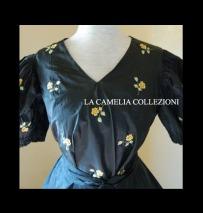 abito da gran gala in taffetas ricami punto pittura fine 1800 - moda femminile 1800 - la camelia collezioni