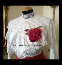 camicia femminile con collo lavorato e polso vivace fine 1800 - moda femminile 1800 - la camelia collezioni
