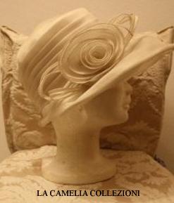cappello in chiffon colore bianco - cappello da cerimonia - la camelia collezioni
