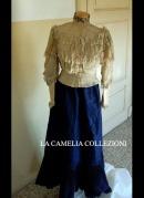 completo da passeggio gonna in taffetas plisee fine 1800 - moda femminile 1800 - la camelia collezioni