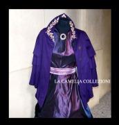 vestito da gran galà gran sera viola vinaccia cangiante con mantellina fine 800 - moda femminile 1800 - la camelia collezioni