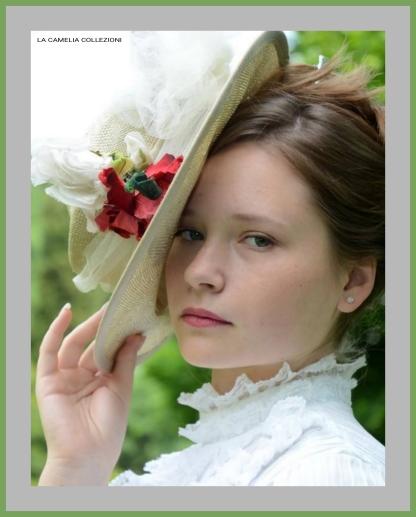 belle epoque e primi 900 - cappello paglia e fiore rosa - la camelia collezioni