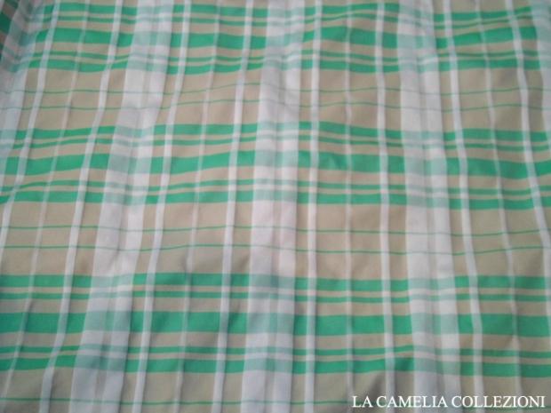 taffettas a quadri toni verdino bianco - tessuti a metro - la camelia collezioni