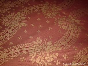 tessuto anni 60 rosa antico effetto damascato - tessuti vintage a metro - la camelia collezioni