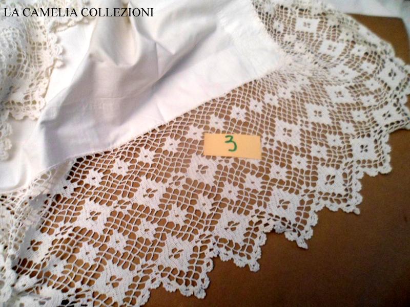 Tovaglia cotone pizzo uncinetto la camelia collezioni for Schemi bordure uncinetto per lenzuola
