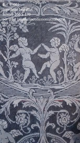 C 003 - Copriletto Lino Filè 266x170