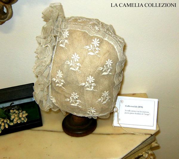 cuffia nuziale -in tulle epoca 1870 - la camelia collezioni