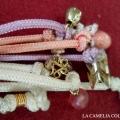 cinture vintage anni 60 - lilla bianca rosa semplice con pendenti finali - la camelia collezioni