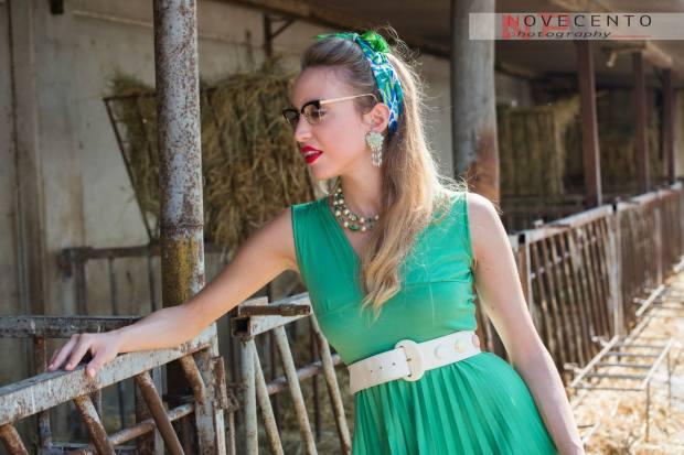 moda anni  50 60 - vestito anni 50 60 verde menta e accessori - la camelia collezioni