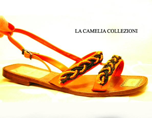 sandali con perline vetro venezia colore arancio e nero - la camelia collezioni