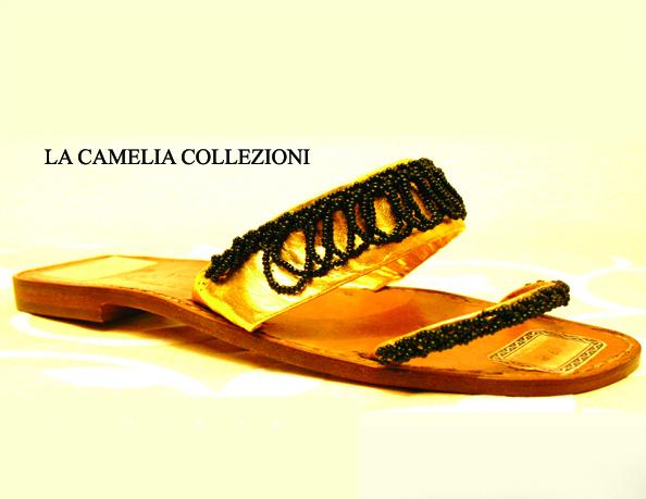 sandali con perline vetro venezia colore nero - la camelia collezioni