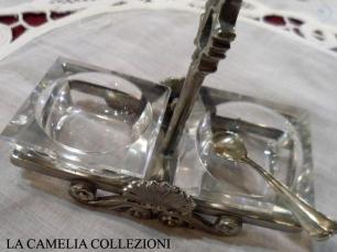 argenteria - posta sale e pepe vetro e argento set formaggiera - noleggio argenteria e posateria - la camelia collezioni