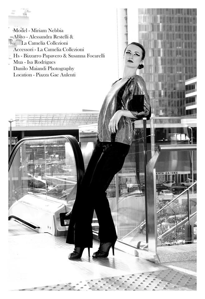 blusa con lustrini linea trapezio con panta neri - la camelia collezioni