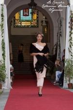 vestito anni 20 30 charleston rosa cipria con stola in pelliccia - la camelia collezioni