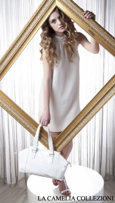 vestito in lamè bianco smanicato - la camelia collezioni