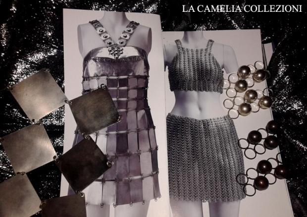moda futuristica - paco rabanne - piastrine in metallo per abiti futuristici - la camelia collezioni