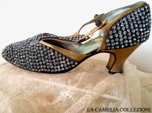 calzature e scarpe d'epoca - tacchi proibiti - scarpina con brillanti charleston - la camelia collezioni