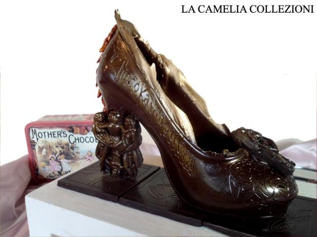 calzature e scarpe d'epoca - tacchi proibiti - scarpina di cioccolato - la camelia collezioni