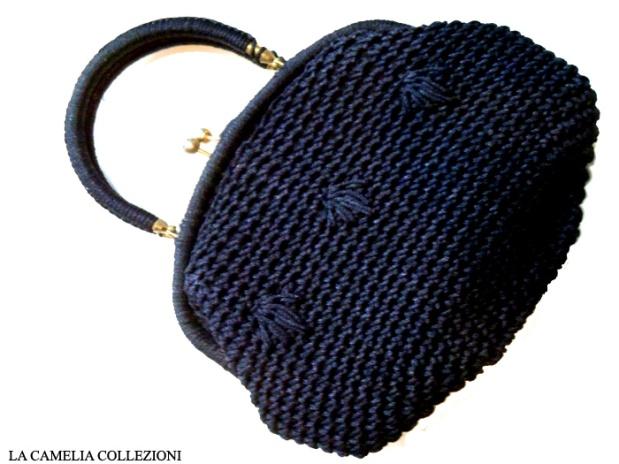 borsa in rafia colore blu - la camelia collezioni