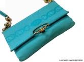 borsa verde acqua con particolari palla oro sui manici - la camelia collezioni