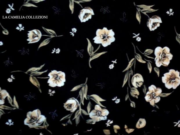 tessuto fiorato base nera - la camelia collezioni