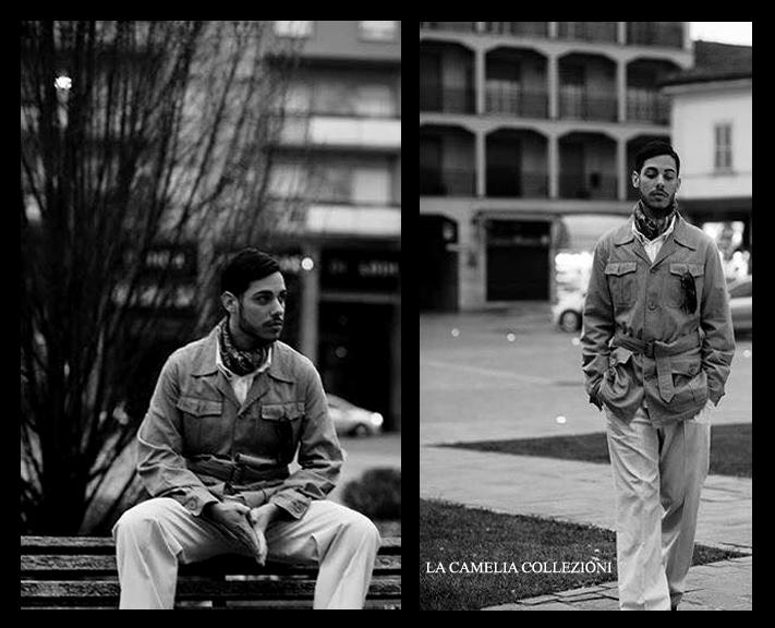 uomo coloniale - vestiti stile coloniale - giacca cachi con accessori - la camelia collezioni