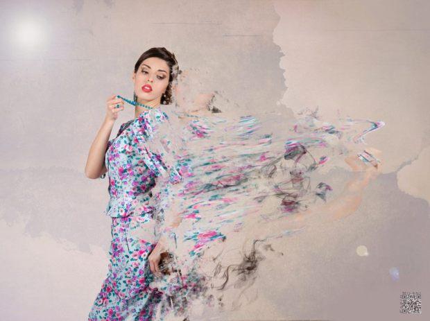 vestiti a fiori - floral dress - abito ungaro celeste con fiori toni fucsia e viola - la camelia collezioni