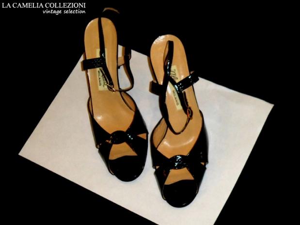 sandalo anni 60 aperto colore nero - la camelia collezioni-vintage selection