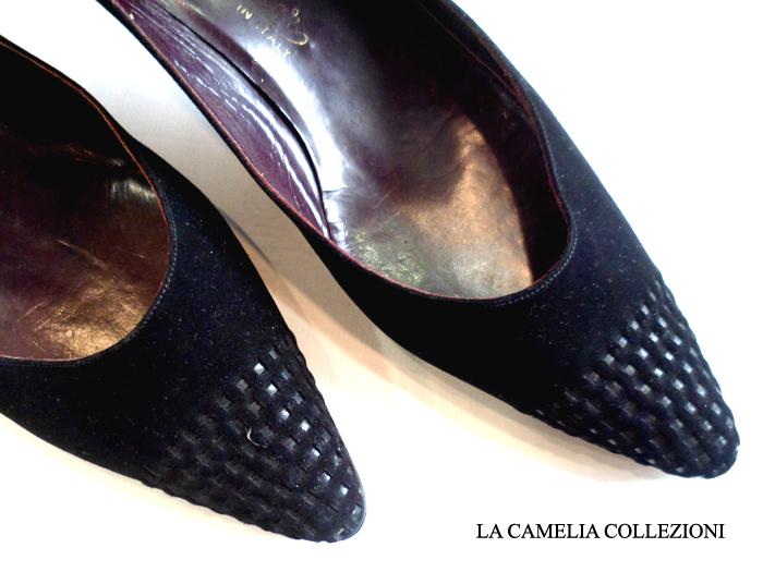 scarpe anni 50 - decollete nera particolare punta - la camelia collezioni