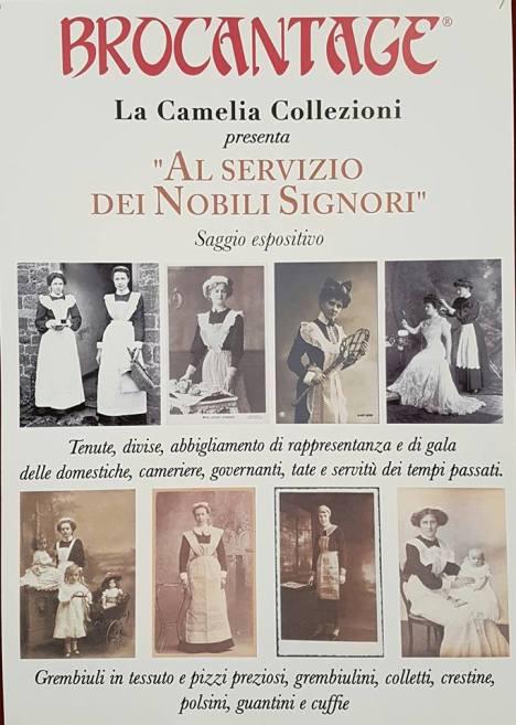 locandina al servizio dei nobili signori - saggio espositivo di grembiuli da tata - marzo 2017 - la camelia collezioni
