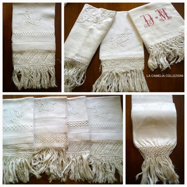 Asciugamani antichi e d epoca- asciugamani ricamati- asciugamani con frangia- la camelia collezioni