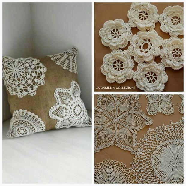 uncinetto crochet - centrini - cuscini creativi stile shabby - la camelia collezioni